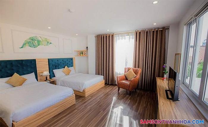 Phòng nghỉ rộng rãi với 2 giường ngủ