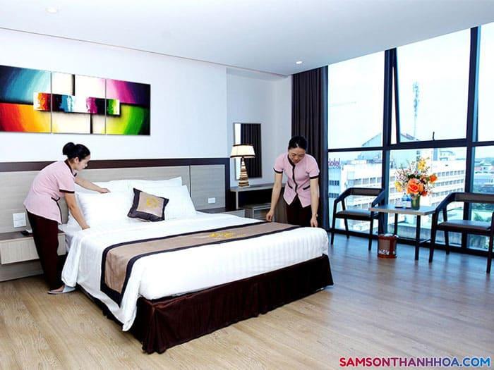 Phòng ngủ khách sạn giường đơn tại khách sạn Sông Gianh Sầm Sơn